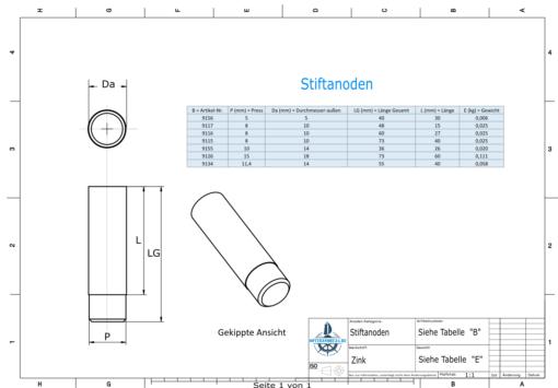 Bolt-Anodes 15mm Press Ø18/L70 (Zinc) | 9126