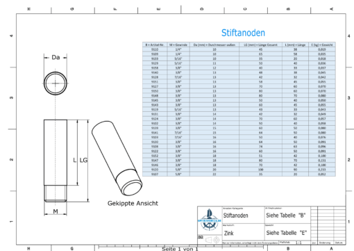Bolt-Anodes 1/4'' 20G Ø10/L58 (Zinc)   9109