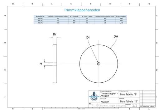 Trim-Tab-Anodes with M8 100x20 Ø100 mm (AlZn5In) | 9813AL