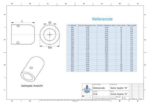 Shaft-Anode with metric inner diameter 45 mm // 1 3/4'' (Zinc) | 9006