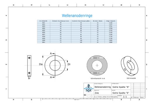 Shaft-Anode-Rings with metric inner diameter 70 mm (Zinc) | 9041