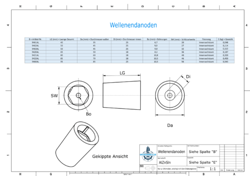 Shaftend-Anodes with hexagon socket SW56 (AlZn5In) | 9460AL