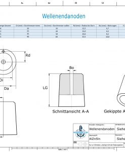 Shaftend-Anodes with carrier punch 35 mm (AlZn5In) | 9637AL
