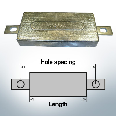 Block- and Ribbon-Anodes Square L290/335 (Zinc) | 9309