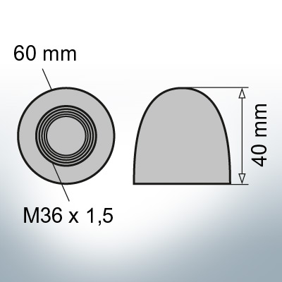 Nut-Caps M36x1,5 Ø60/H40 (AlZn5In) | 9404AL