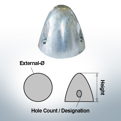 Three-Hole-Caps Ø50/H65 (Zinc) | 9406