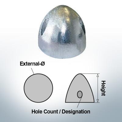 Three-Hole-Caps | suitable for DF-112 Ø90/H53 (Zinc) | 9412