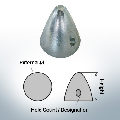 Two-Hole-Caps | Boy-Prop Ø70/H70 (AlZn5In) | 9424AL