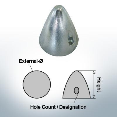 Two-Hole-Caps | Boy-Prop Ø70/H70 (Zinc) | 9424