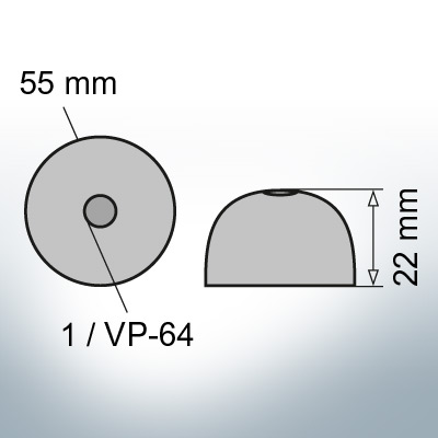 One-Hole-Caps | suitable for VP-64 Ø55/H22 (Zinc) | 9451