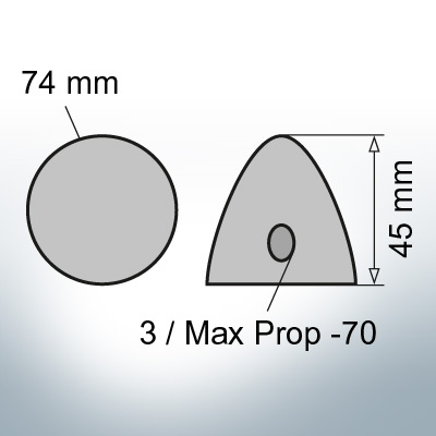 Three-Hole-Caps | Max Prop -70 Ø74/H45 (Zinc) | 9601