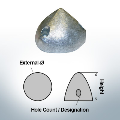 Three-Hole-Caps   Max Prop -70 Ø74/H45 (AlZn5In)   9601AL