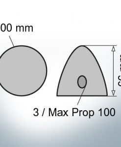 Three-Hole-Caps | Max Prop 100 Ø100/H66 (AlZn5In) | 9603AL
