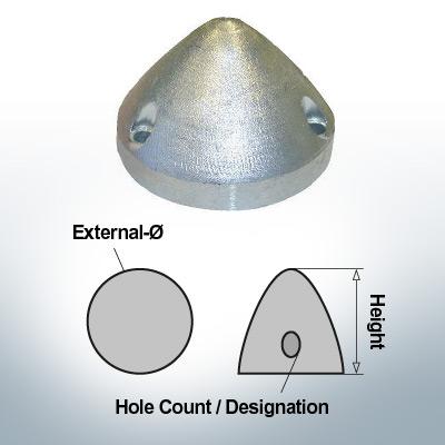 Three-Hole-Caps | Max Prop AN70 Ø74/H45 (Zinc) | 9607