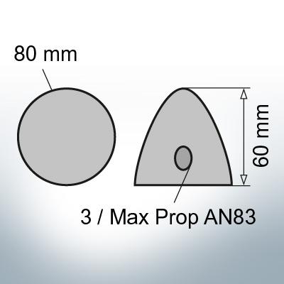 Three-Hole-Caps | Max Prop AN83 Ø80/H60 (Zinc) | 9608