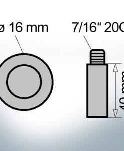 Bolt-Anodes 7/16'' 20G Ø16/L40 (Zinc) | 9103 | Ref.Z-2712