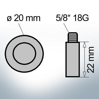 Bolt-Anodes 5/8'' 18G Ø20/L22 (Zinc)   9107