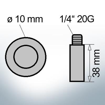 Bolt-Anodes 1/4'' 20G Ø10/L38 (Zinc) | 9110