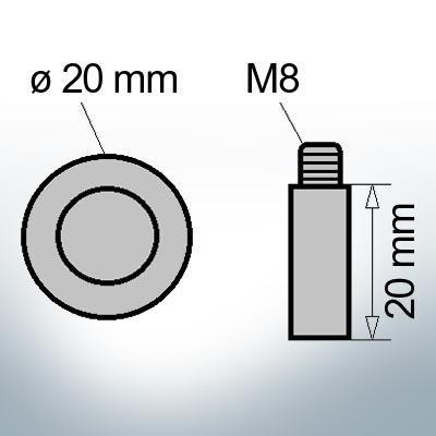 Bolt-Anodes M8 Ø20/L20 (AlZn5In) | 9114AL
