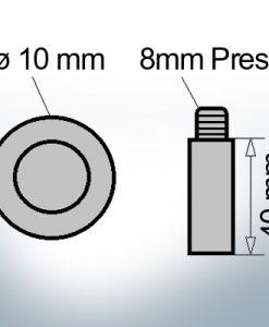 Bolt-Anodes 8mm Press Ø10/L40 (Zinc) | 9115