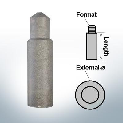 Bolt-Anodes 8mm Press Ø10/L27 (AlZn5In)   9116AL