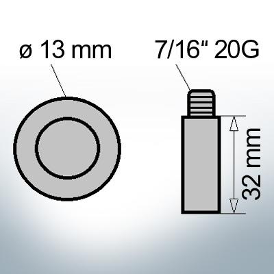 Bolt-Anodes 7/16'' 20G Ø13/L32 (Zinc) | 9128