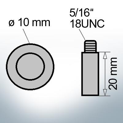 Bolt-Anodes 5/16'' 18UNC Ø10/L20 (Zinc) | 9133