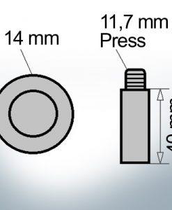 Bolt-Anodes 11,7 mm Press Ø14/L40 (Zinc) | 9134