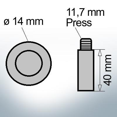 Bolt-Anodes 11,7 mm Press Ø14/L40 (Zinc)   9134