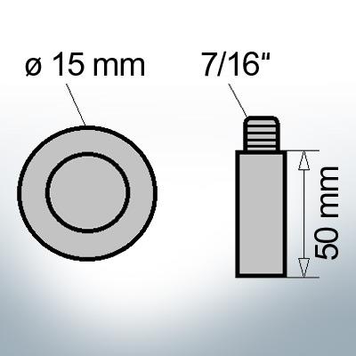 Bolt-Anodes 7/16'' Ø15/L50 (Zinc)   9141