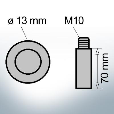 Bolt-Anodes M10 Ø13/L70 (AlZn5In) | 9142AL