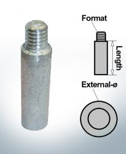 Bolt-Anodes 3/8'' inkl. Muffe Ø13/L45 (AlZn5In) | 9151AL