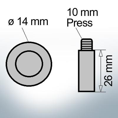 Bolt-Anodes 10 mm Press Ø14/L26 (AlZn5In) | 9155AL