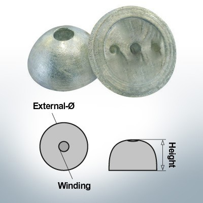 One-Hole-Caps   suitable for VP-64 Ø55/H22 (AlZn5In)   9451AL