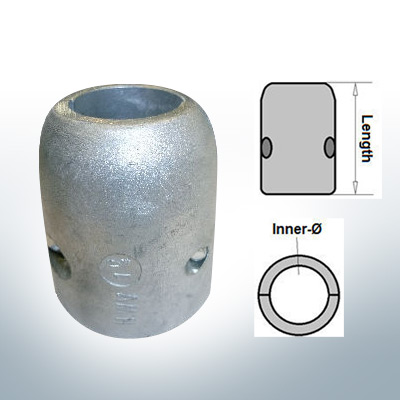 Shaft-Anodes with imperial inner diameter 1'' (AlZn5In) | 9016AL