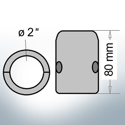Shaft-Anodes with imperial inner diameter 2'' (AlZn5In)   9020AL