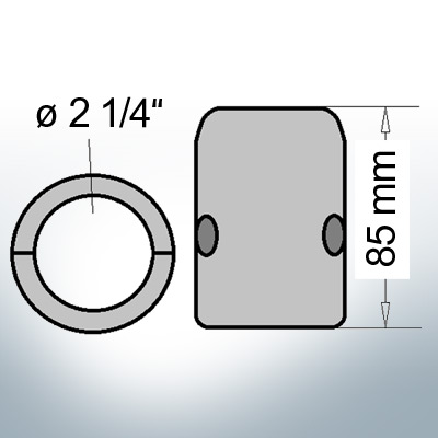 Shaft-Anodes with imperial inner diameter 2 1/4'' (Zinc)   9021