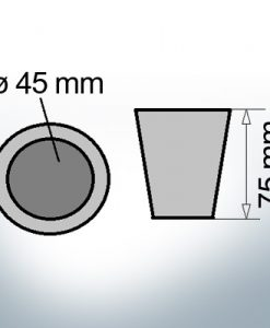 Shaftend-Anodes conical with retainer key 45 mm (AlZn5In) | 9441AL